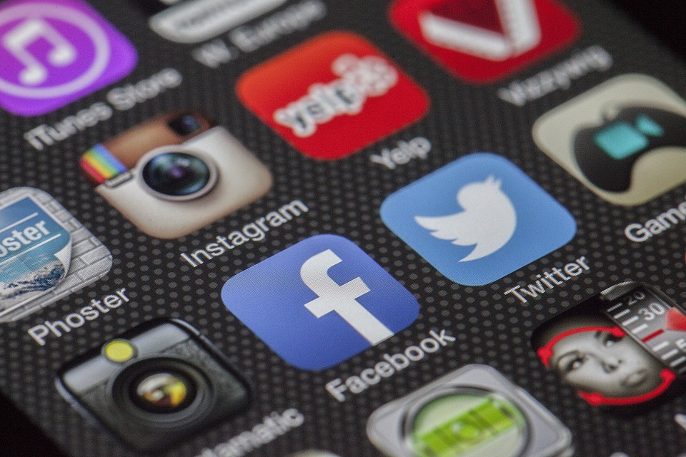 Closeup image of Facebook icon on phone screen