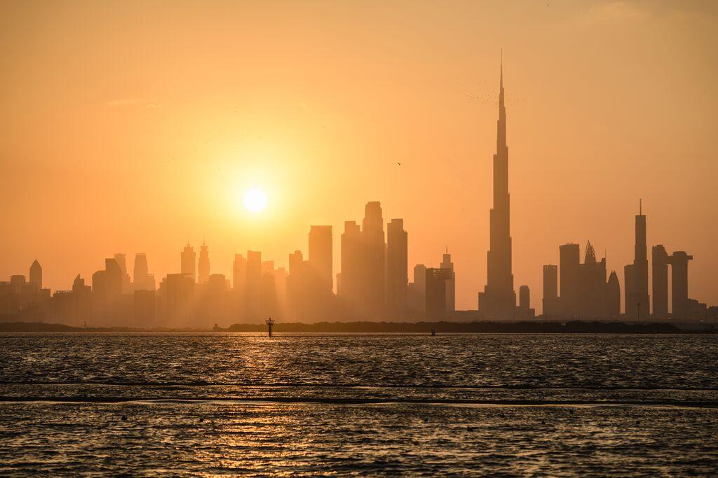 Dubai City Skyline at Sunset