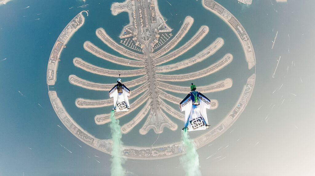 Skydiving over Palm Jumeirah