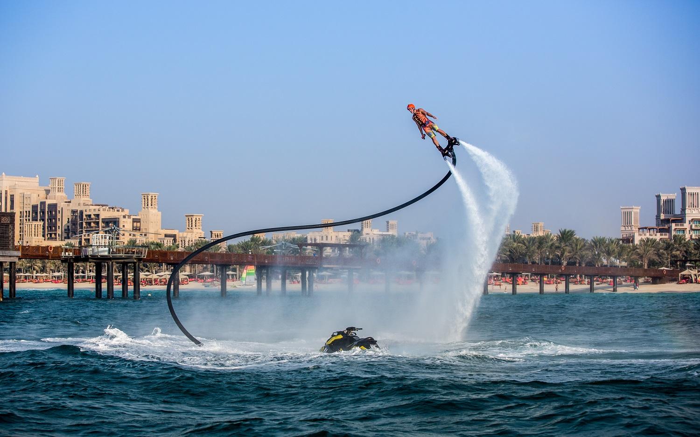 Flyboarding on Arabian Gulf