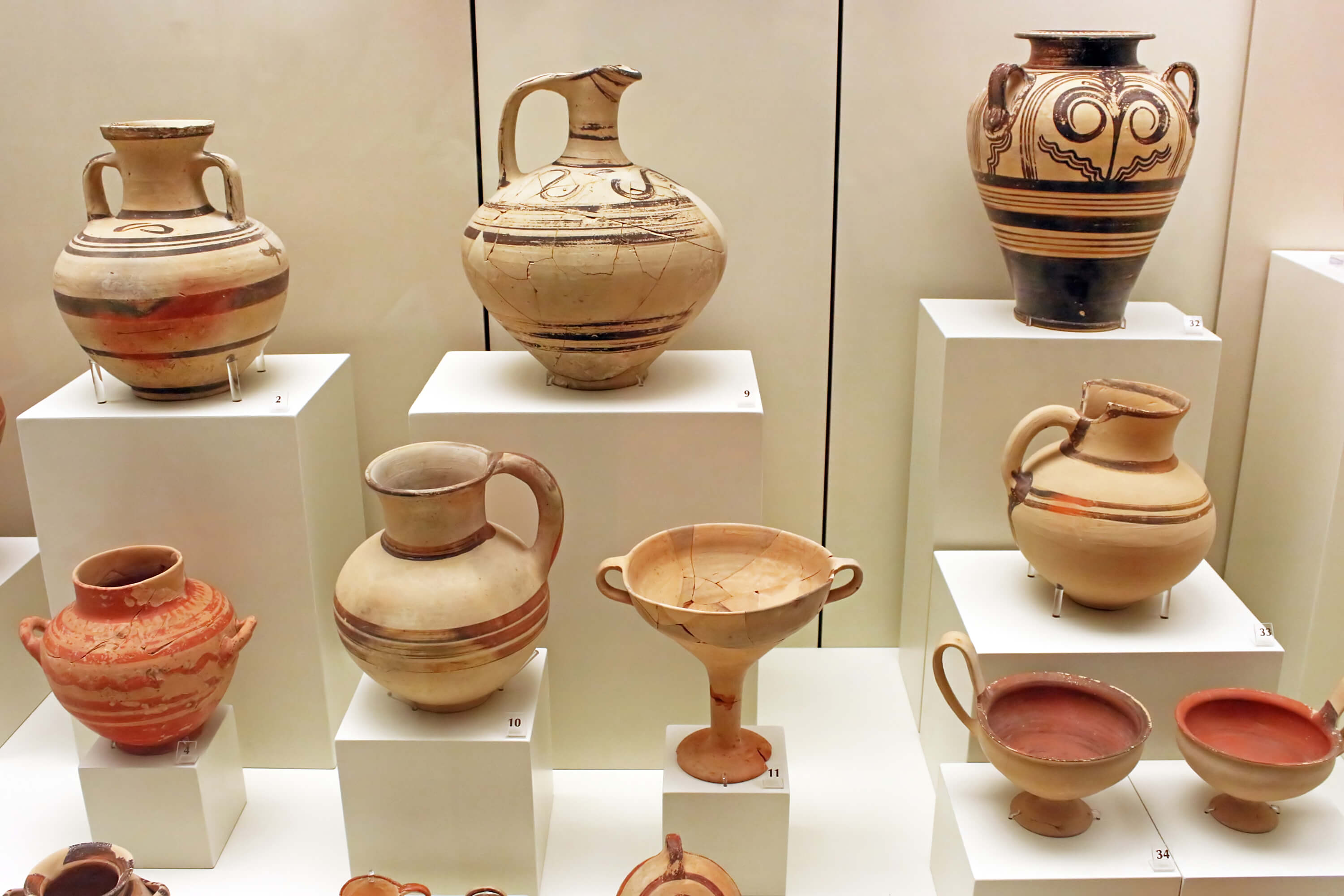 various Greek amphorae on display. This type of pottery is common at the Indian landmark, Arikamedu.