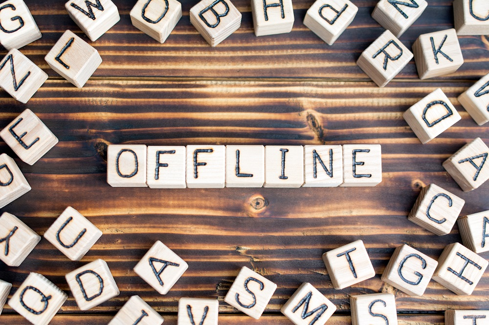 """The word """"offline"""" made with letter blocks"""