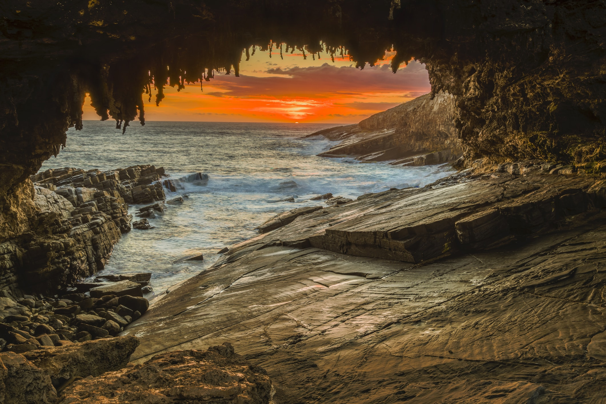 Sunset at Admiral's Arch - a popular caving site on Kangaroo Island.