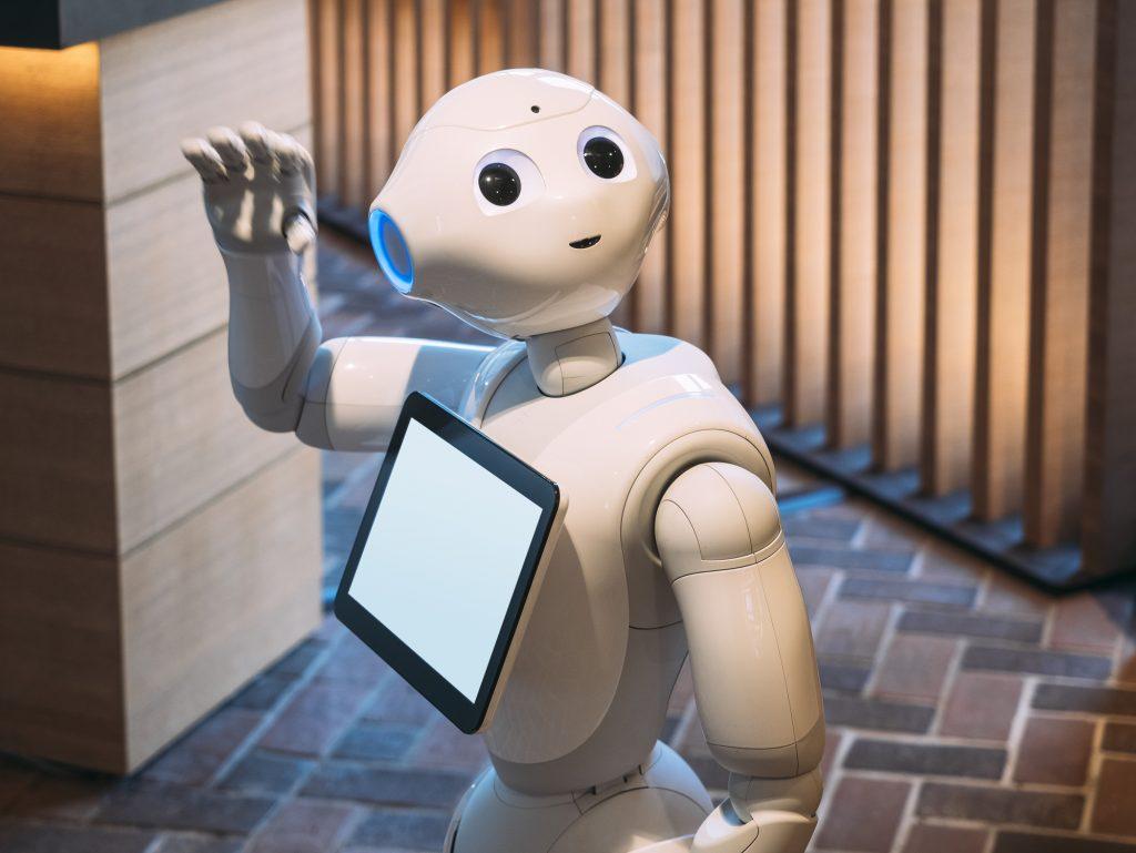 robot concierge waving