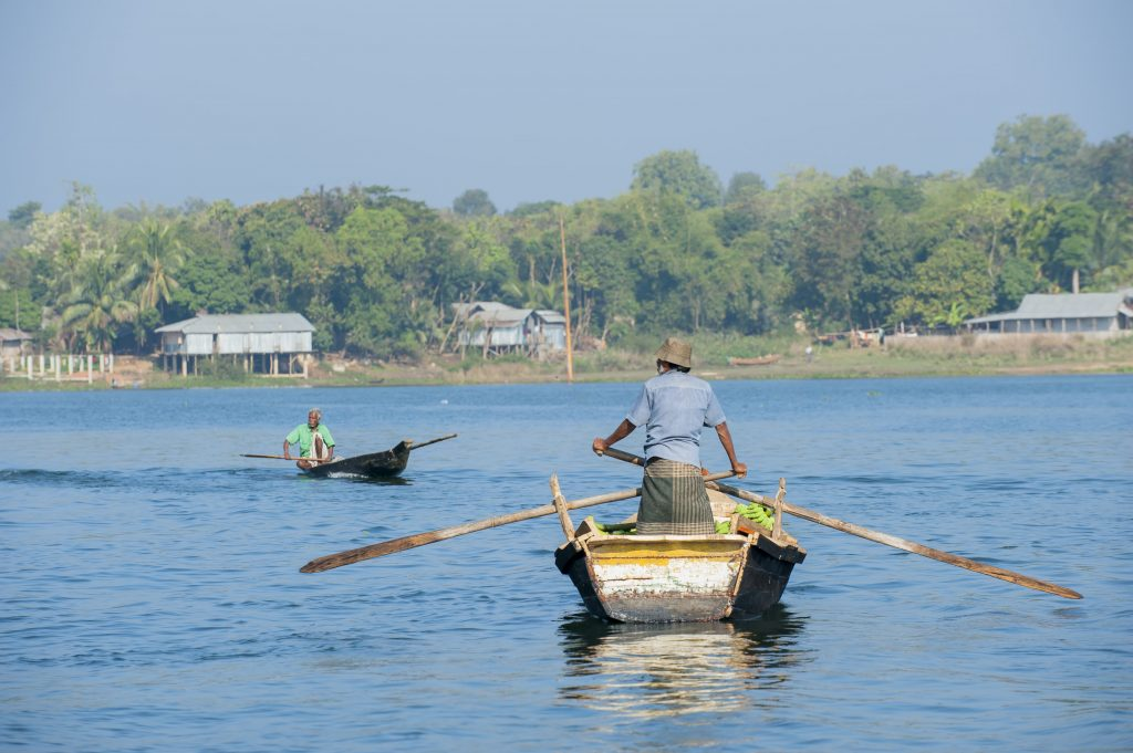 Row boats in Chittagong's waterways