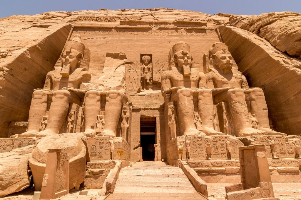 The African landmark of Abu Simbel, an Egyptian temple.
