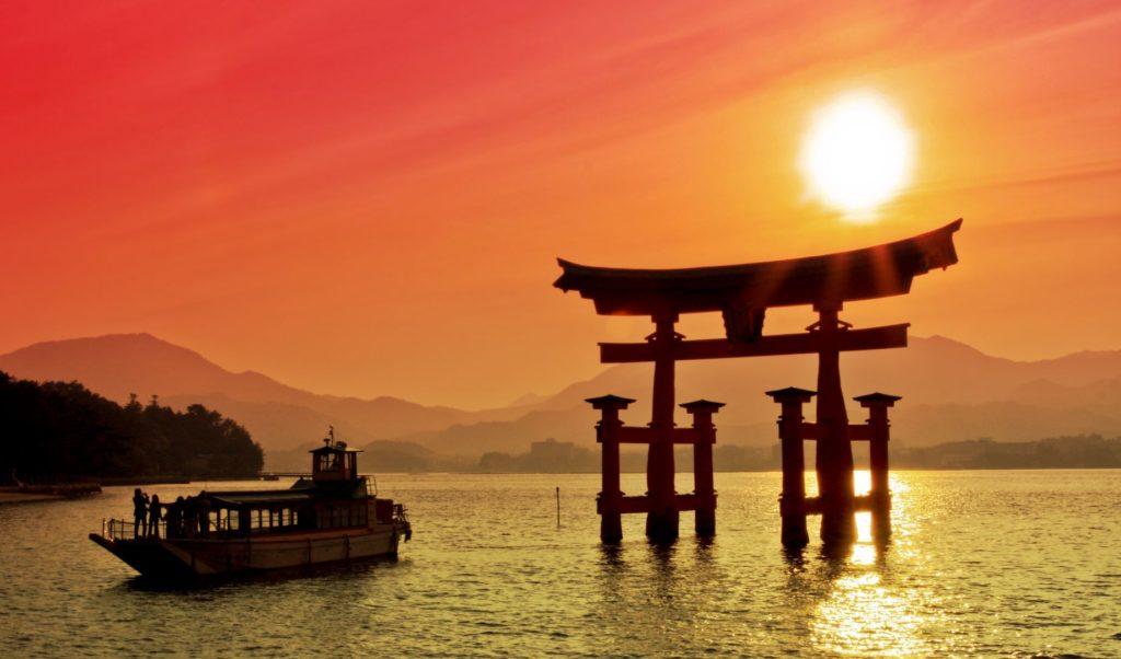 the torii gate at sunset