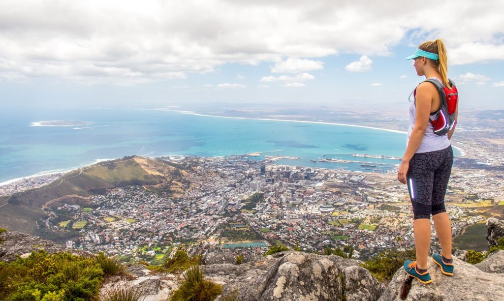 woman hiking in cape town-south africa