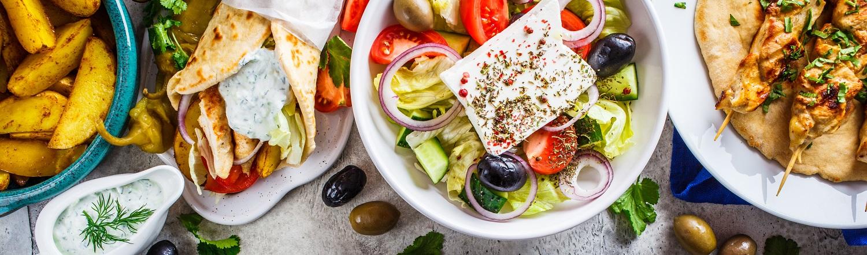 Platter of Greek food
